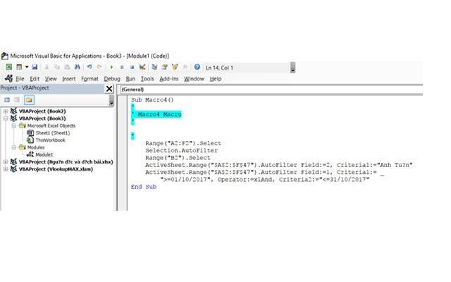 Cách lọc dữ liệu bằng VBA với 2 điều kiện