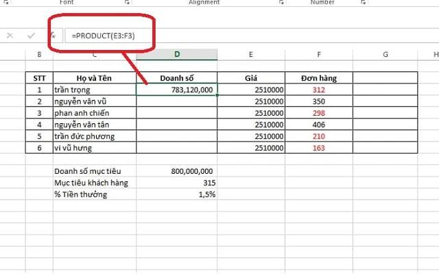 Cách sử dụng hàm tích trong Excel
