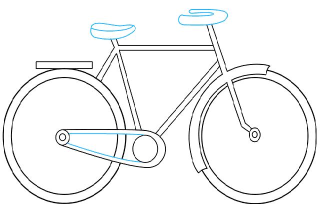 Phác họa yên xe và tay nắm của xe đạp