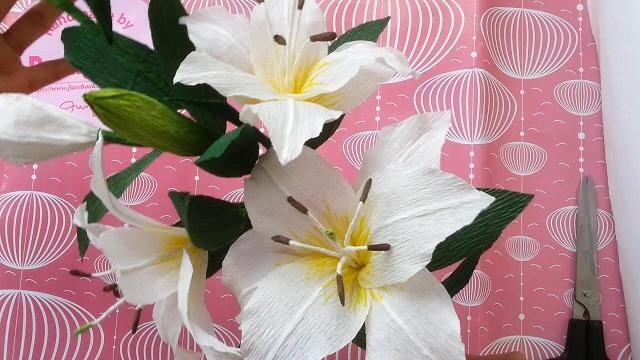 Bạn có thể sử dụng giấy màu, giấy báo hoặc giấy nhún làm hoa ly