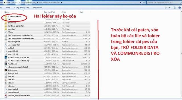 Xóa toàn bộ file và folder trong Pes