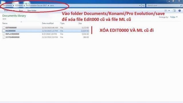Xóa file Edit00000 cũ và file ML cũ